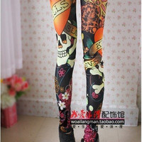 Vintage skull clothes stretchy skeleton printed tattoo Skinny Jeans Leggings