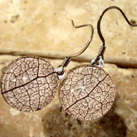 Skeleton Leaf of Salal Earrings, Plant jewelry, leaf jewellery