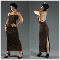 70s Disco Maxi Dress in Copper Bronze Metallic Lurex // Sexy Open Back, Spaghetti Straps, Floor Length, High Back Slit // Sz S/M