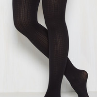 Cable for Discussion Tights in Black | Mod Retro Vintage Tights | ModCloth.com