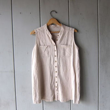 Natural Linen Blouse Button Up Tank Top Minimal Sleeveless Blouse 90s Slouchy Loose Fit Rayon Blend Top Chic Womens Medium