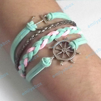 nautical bracelet, anchor bracelet, nautical charm and anchor charm, men's women's leather bracelets, braided bracelets