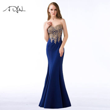 ADLN 2017 Stock Mermaid Evening Dresses Long Formal Royal Blue Party Gowns Cheap Prom Wear robe de soiree longue