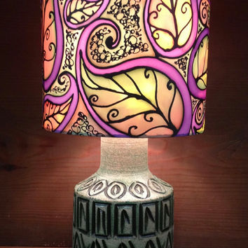 Autumn Leaf Paisley Lamp, Multi-Colour, Hand Silk Painted Shade, 20cm Drum, Green Ceramic Embelleshed Base.