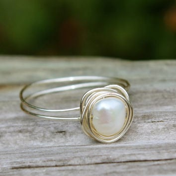 Simple pearl ring, silver wire wrap natural freshwater pearl, Delicate June Birthstone ring