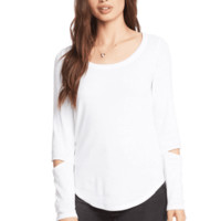 Women's Shirttail Tee with Vented Long Sleeves