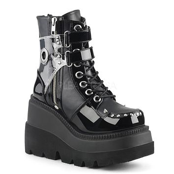 Demonia Shaker 57 Black Platform Gothic Punk Boot