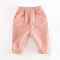 Comfy Solid Fleece Lined Pants for Baby