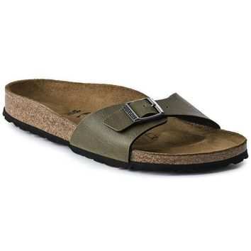 Sale Birkenstock Madrid Birko Flor Pull Up Olive 1003172 Sandals
