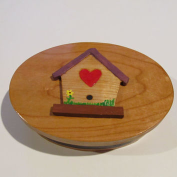 Jewelry Box Gift Box Birdhouse Gift Box Birder's Gift Hand Carved Hand Made Wood Box Birthday 5th Anniversary Trinket Box Wood Anniversary
