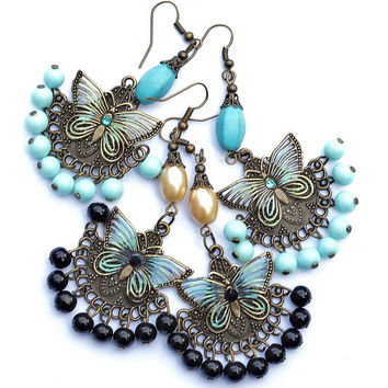 2287b5550 Vintage Style Butterfly Victorian Chandelier Earrings Bohemia.