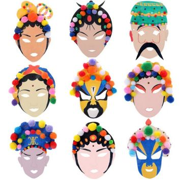 Children's DIY Peking Opera Mask Handmade Paper Full Face Hairball Peking Opera Masquerade Mask Shape Random