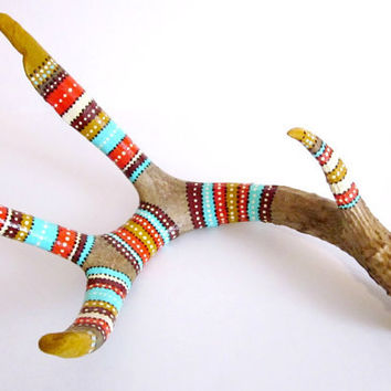 ANTLER ART - Hand Painted Deer Antler - RUSTIC Tribal Home Decor - Woodland Primitive Nature Art