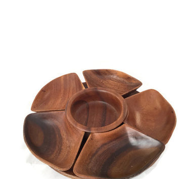 Acacia Monkey Pod Lazy Susan, Wood Turn Table, Sectioned, Serving Tray, Made in Philippines