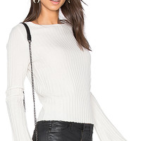 360 Sweater Eugenie Bell Sleeve Sweater in Chalk