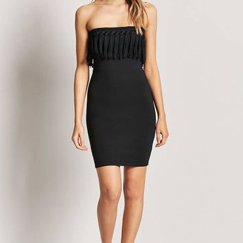 Tasseled Strapless Mini Dress