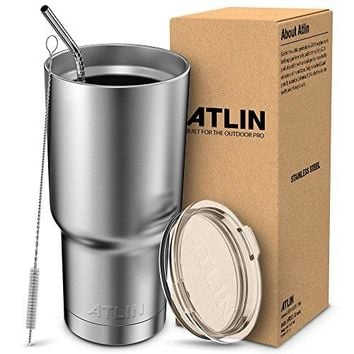 Tumbler [30 oz. Double Wall Stainless Steel Vacuum Insulation] Travel Mug [Crystal Clear Lid] Water Coffee Cup [Straw Included]For Home,Office,School - Works Great for Ice Drink, Hot Beverage