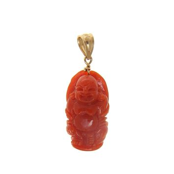 GENUINE NATURAL NOT ENHANCED RED CORAL HAPPY BUDDHA PENDANT 14K YELLOW GOLD
