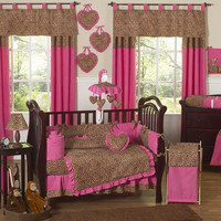 UNIQUE PINK CHEETAH ANIMAL PRINT DISCOUNT DESIGNER 9p BABY GIRL CRIB BEDDING SET