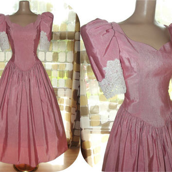 Vintage 80s Rose Pink Moire Taffeta Neo-Victorian Formal Dress 9/10 Alfred Angelo