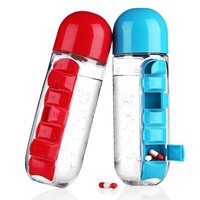 600ML  Bottle Sports With Pill Box Organizer