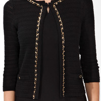 Cropped Chain Trimmed Cardigan