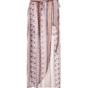 Women Bohemian Printed High Low Asymmetrical Hem Long Skirt