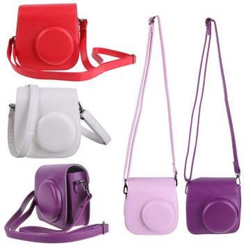 1PC Leather Camera Strap Bag Case Cover Pouch Protector Shoulder Strap For Polaroid Photo Camera For Fuji Fujifilm Instax Mini 8