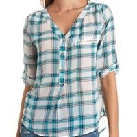 Sheer Chiffon Zipper-Topped Plaid Top