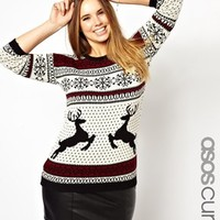 ASOS CURVE Sweater In Reindeer Fairisle