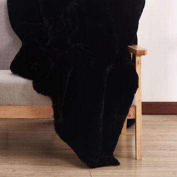 Faux Black Chinchilla Fur 5 Feet By 7 Feet