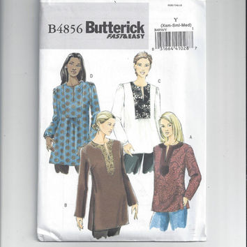 New Butterick 4856 Fast & Easy Pattern for Misses' Top or Tunic - Size XSmall to Medium, FACTORY FOLDED and UNCUT, From 2006