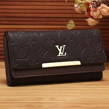 Perfect LV Women Shopping Fashion Leather Buckle Wallet Purse
