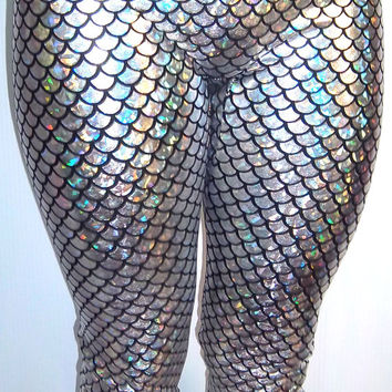 Silver (on black) Holographic Small Scale Mermaid Leggings