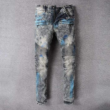 France Style #8808# Mens Distressed Embellished Ribbed Stretch Moto Pants Biker Jeans Slim Trousers Size 28-42
