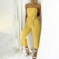 Strapless Bow Sexy Solid Women Jumpsuits Romper Jumpsuit Rompers Sexy Beach Romper Jumpsuit