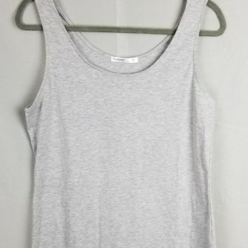 Basic Scoop Neck Layering Tank Top - Gray