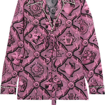 Gucci - Faux pearl-embellished printed silk crepe de chine blouse