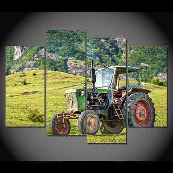 Old Green Tractor Classic Limited Edition 4-Piece Wall Art Canvas