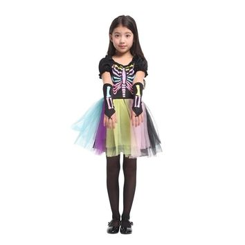 scary skeletone halloween costume for kids witch animal princess girl children child scary clown costumes kid fancy dress Party