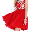 Red Floral Lace Mini Flounce Dress