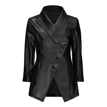 Black Autumn jacket Women Gothic faux leather Winter zipper Mid-long Outerwear Motorcycle faux leather PU Jacket  2018 Coat HOT