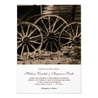 Rustic Country Western Wagon Wheel Wedding Invites