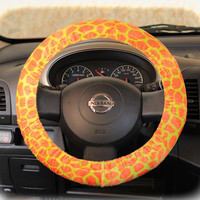 by (CoverWheel) Steering wheel cover cheetah print wheel car accessories Orange - Yellow Giraffe fur wheel cover