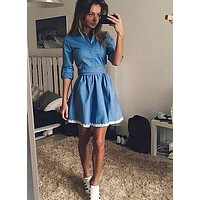 Fall Women Casual Dress Summer Vintage Cute Lace Slim Blue Denim Party Mini Dresses