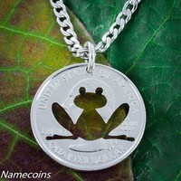 Frog Necklace hand cut from a coin by Namecoins