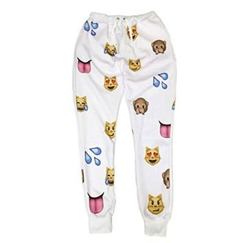 Emoji White 3D Sweatpants Joggers (M)