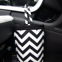 Car Trash Bag  Chevron Black/White - fabric by Premier Prints