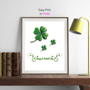 Happy St.Patrick's day print, Patrick's day, St.Patrick's printable, Clover print, Clovers, Clover digital, March decor, Instant download