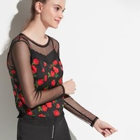 k/lab Floral & Mesh Long Sleeve Top | null